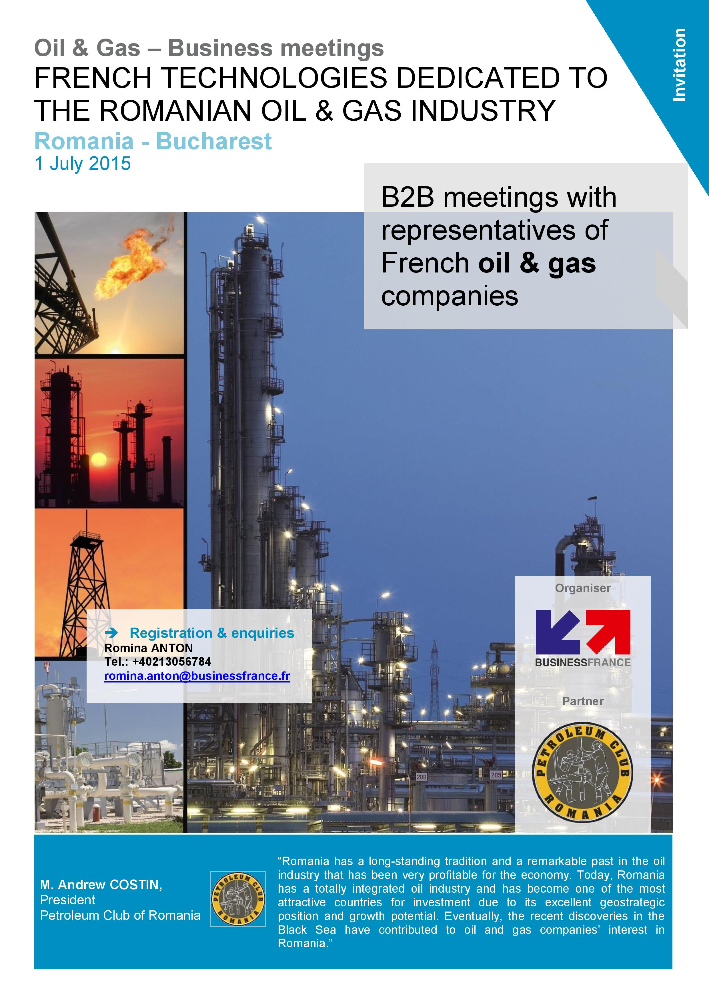 B2B meetings with representatives of French oil & gas companies
